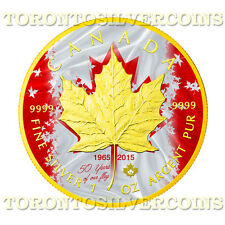 2015 Canada 1 oz Silver $5 Maple Patriotic Flag Anniversary Coin  - Mintage 500