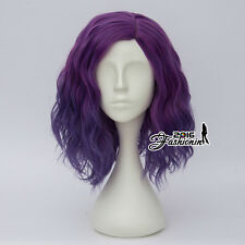 Heat Resistant Lolita Purple 35CM Long Women Curly Anime Cosplay Full Hair Wig