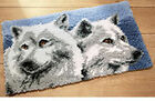 Wolves latch hook rug making wall hanging kit 70x45cm latch hook canvas Inc tool