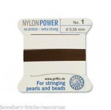 Marrón Nylon Potencia sedoso Cadena Hilo 0,35 mm Encordar Perlas Y Cuentas Griffin 1