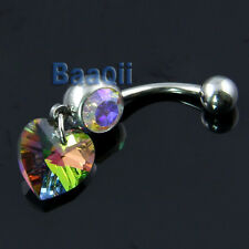Multi Color Heart Dangle Belly Ring Bar Navel Ring BEAUTIFUL Eye-Catching JW058