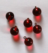 VINTAGE 6 RUBY RED GLASS MARBLE BALL BEAD DROPS PENDANT BEADS 9mm