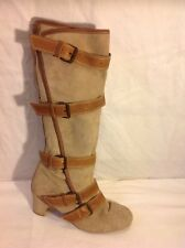 Office Brown Knee High Leather Boots Size 39