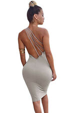 New grey one shoulder open back dress club party wear size 8-10