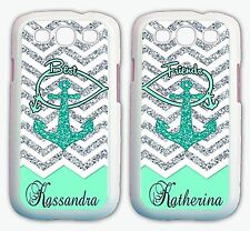 Personalized MINT CHEVRON ANCHOR BFF Best Friend Cases For Samsung GALAXY S7 S6