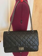 CHANEL 2.55 REISSUE 227 IN BLACK CAVIAR LEATHER BAG PURSE     sz extra large
