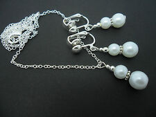A WHITE GLASS  PEARL WEDDING BRIDESMAID  NECKLACE AND CLIP ON  EARRING SET. NEW.