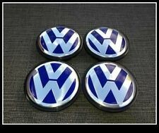 Set of 4 VW Blue Alloy Wheel Centre Caps Hub 55mm Passat Golf Polo GTI TDI Lupo