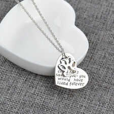 2016 New Dog Love Heart Silver Plated Chain Pendant Necklace Jewelry Gift