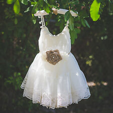 Ivory Lace Shabby Chic Rustic Wedding Flower Girl Dress