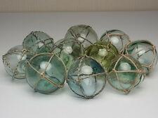 """Japanese Old GLASS Fishing FLOAT 2.1"""" - 2.6"""" Small BALL + Net Vintage JAPAN"""