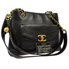 Authentic CHANEL CC Logos Chain Shoulder Tote Bag Black Leather Vintage BT10721