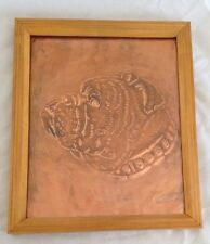 """Etched Engraved Hammered Tooled Copper 10X12"""" Bulldog Dog Art Picture"""