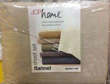 BRAND NEW JCP HOME FLANNEL TWIN SIZE SHEET SET COLOR FLAX