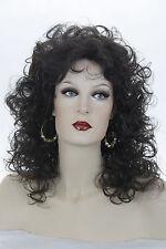 Dark Brown Brunette Medium Wavy Curly Wigs