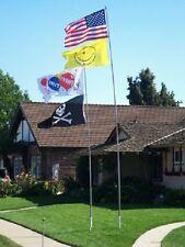 16' Heavy Duty Fiberglass Telescoping Flag Pole w/ Flag and Wall Mount