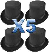 5 x TALL LINCOLN BLACK TOP HAT RINGMASTER MAGICIAN FANCY DRESS H09 580