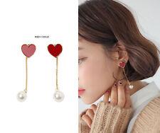 Stylenanda 3CE Heart Stud Faux Pearl Drop Earrings Women Accessories Jewelry