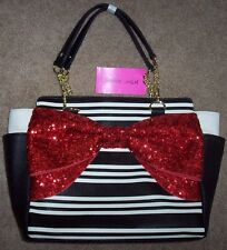 NWT Betsey Johnson $108 Black/Ivory Stripes Satchel Purse Large RED SEQUIN BOW