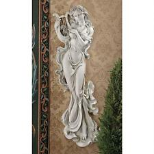 """CLASSICAL BEAUTY MUSE OF MUSIC 30"""" ANTIQUE STONE FINISH WALL SCULPTURE NEW"""