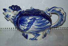 Vintage Big Magnificent porcelain teapot Gzhel hand painted Original Russia