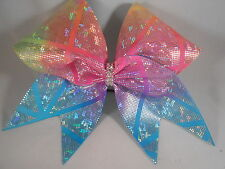 Cheer Bow Pastel Rainbow Prism Shattered Glass by BlingItOnCheerBows