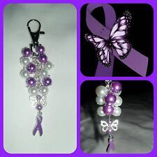 Fibromyalgia Fibro butterfly awareness ribbon Key Ring/Bag Charm