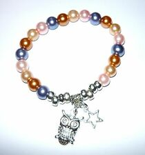 OWL PEARL BRACELET- Pearl bracelet with star & owl charms - ideal teacher gift
