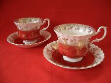 2 X VINTAGE ROYAL ALBERT~ REGAL SERIES RED/GOLD ~ TEA CUP & SAUCER
