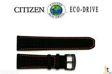 Citizen Eco-Drive B612-S084059 23mm Black Leather Watch Band w/Orange Stitching