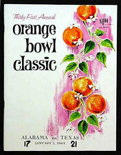1965 Orange Bowl  * RARE * Texas Alabama Football Program Joe Namath Bear Bryant