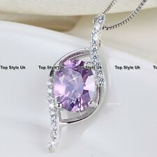 Gemstone Jewelry Amethyst Necklace Pendant Diamond Stone Silver Gifts for her A1