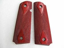 NEW DIAMOND CHECKERED WOOD GRIP FOR COLT 1911 FULL SIZE, KIMBER CLONES HANDMADE
