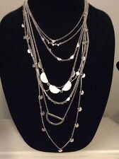 LUCKY BRAND LUCKY LAYERS NECKLACE, CLEAR QUARTZ, MULTI SILVER STRANDS $89 # 624