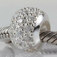 925 STERLING SILVER CLIP ROUND CLEAR CZ CHARM BEAD FITS EUROPEAN BRACELET BANGLE