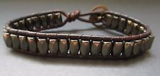 Handcrafted Mens Pyrite Hematite Magnetic Brown Leather Bracelet Trout Button