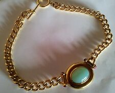 ELIZABETH TAYLOR FOR AVON JADE CABUCHON AND 22K GOLD PLATED CHOCKER