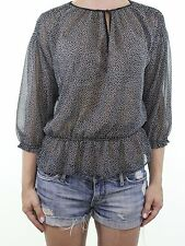 Zara Negro Irregular Polka Dot Sheer Peplum Blusa Prenda para el torso Talla L se ajusta Reino Unido 12