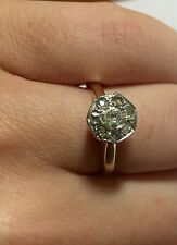 Victorian Antique Double Rose Cut Diamond Ladies Ring Size 5.5 14k Gold And Plat