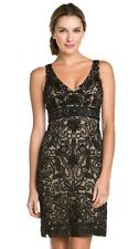 SUE WONG  Black Nude Beaded GATSBY Cocktail Evening Illusion Back Dress 12