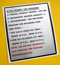 MGB Vintage early style TIRE (TYRE) PRESSURE info sticker decal, gloss laminated