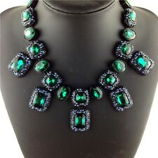 BEAUTIFUL ZARA GREEN FACETED SPARKLING STONES STATEMENT NECKLACE – NEW