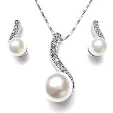 Perle Set Bianco Matrimonio Sposa Set Gioielli Collana Di Strass