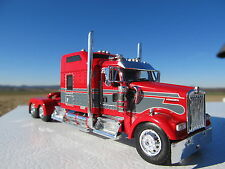 DCP 1/64 SCALE W-900 KENWORTH STUDIO SLEEPER RED WITH GRAY SEMINOLE STRIPE