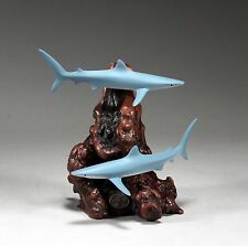 BLUE SHARKS Figurine New direct from JOHN PERRY 7 in high Statue Art