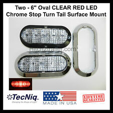 """2 -6"""" Oval CLEAR RED LED CHROME Stop Turn Tail Light Surface Mount Trailer Truck"""