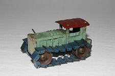 Rare Occupied Japan Tin Painted Wind Up Tractor Bulldozer & Key Works VG L@@K