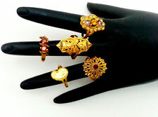 LOT OF 5 RINGS INDIAN BOLLYWOOD SAREE SKIRT SUIT JEWELRY GP MULTI-STONE RING #3