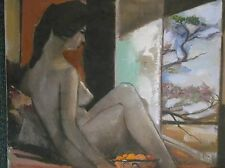 OIL ON CANVAS PAINTING A BEAUTIFUL STUDY OF A SEATED NUDE FEMALE