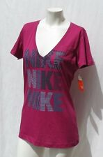 NEW NIKE The Athletic Dept. Women's Magenta Logo T Shirt Top size M L Slim Fit